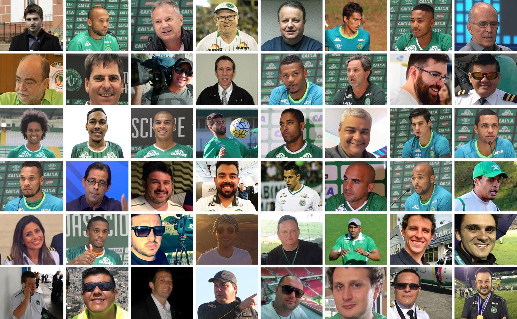 [MONTAGEM] Mosaico com as vítimas da queda do avião da Chapecoense (Foto: Editoria de Arte/G1)