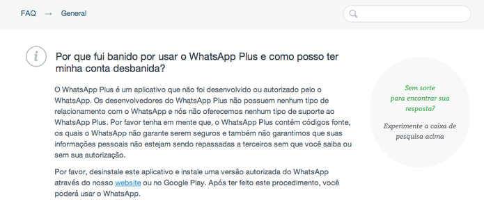 Comunicado do WhatsApp no FAQ do mensageiro explica a ação  (Foto: Reprodução/ TechTudo)