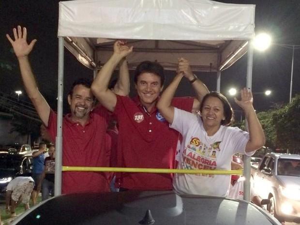 Fernando Mineiro, Robinson Faria e Fátima Bezerra - Natal RN (Foto: Marília Rocha)