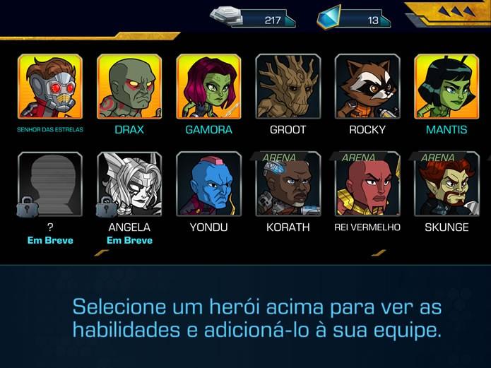 """Clicando em """"Editar equipe"""" o jogador poderá personalizar o quarteto que lutará nos combates das partidas de Guardians of the Galaxy: The Universal Weapon (Foto: Reprodução/Daniel Ribeiro)"""