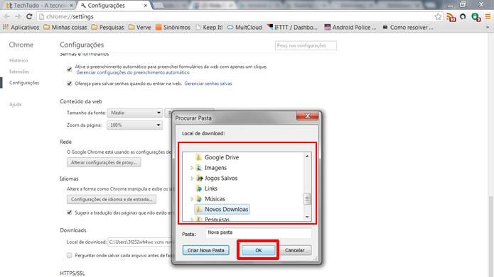 """Determine a destinação onde os downloads serão salvos e clique em """"OK"""" para salvar sua escolha (Foto: Reprodução/Daniel Ribeiro)"""