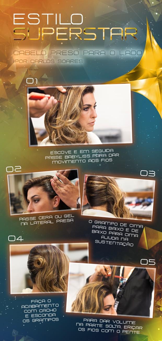 Passo a passo com penteado de Fê Paes Leme (Foto: SuperStar/TV Globo)