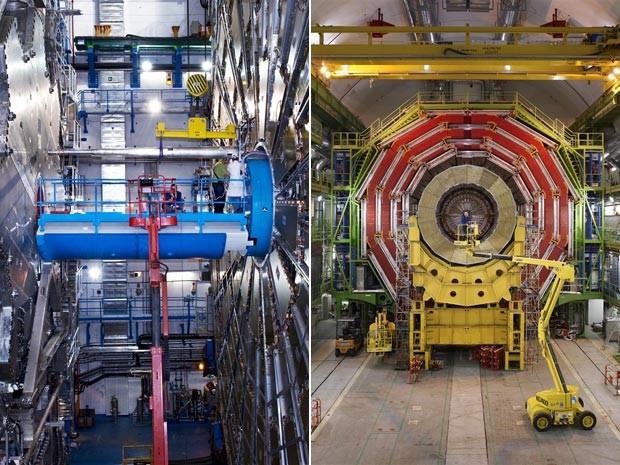 Para um leigo, é difícil perceber as diferenças entre o Atlas (esq.) e o CMS (dir.) (Foto: Cern/Divulgação)