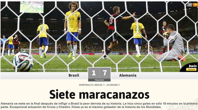 Sete Maracanazos: jornal espanhol destaca vexame brasileiro (Foto: Reprodução/As)