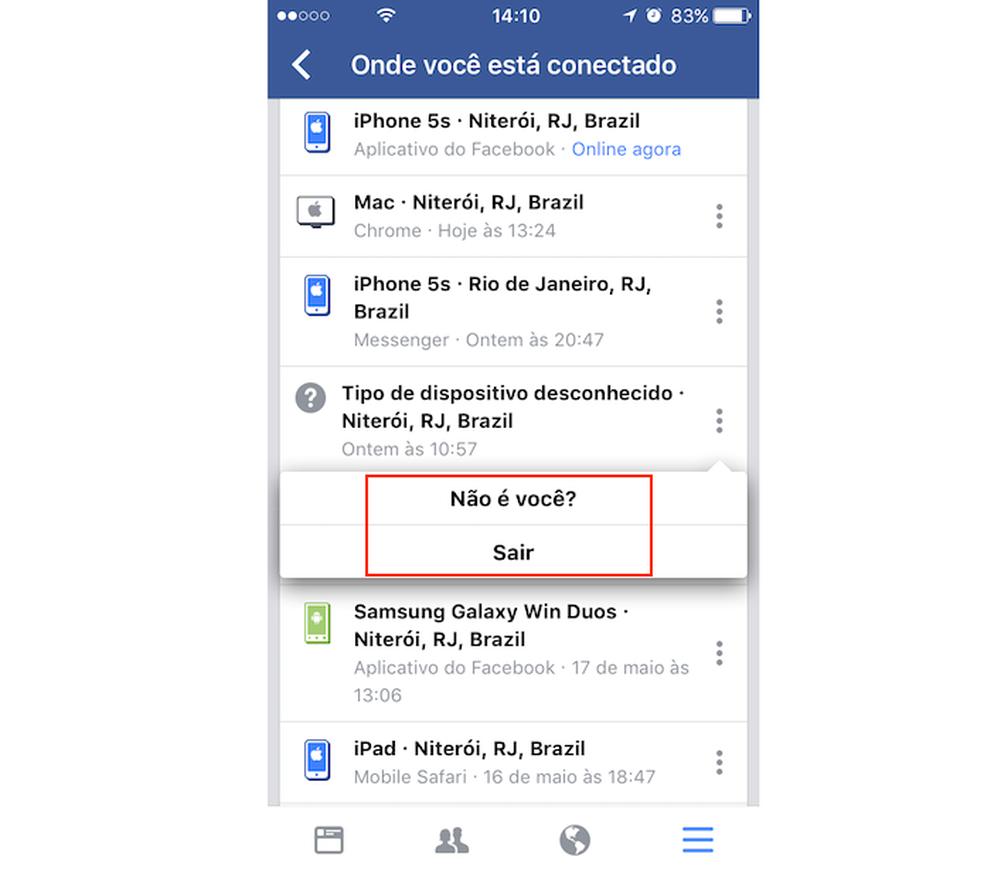 Opções de segurança para um acesso à sua conta do Facebook (Foto: Reprodução/Marvin Costa)