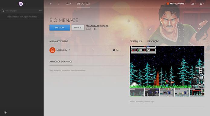 Clique em instalar e aguarde o download no GOG (Foto: Reprodução/Murilo Molina)