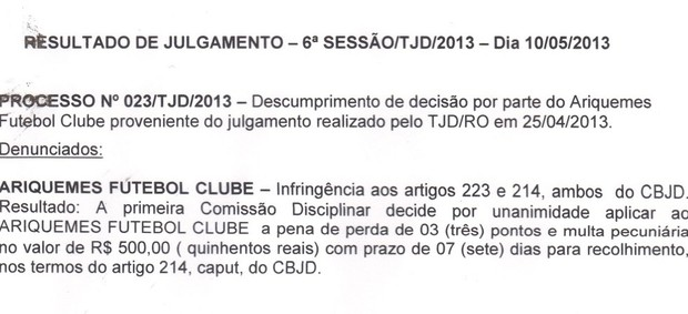 TJD-RO aplica multa e punição, mas Ariquemes ainda segue na semifinal (Foto: Reprodução/FFER)