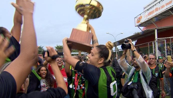 Time feminino do América-MG é campeão mineiro (Foto: Reprodução / TV Globo Minas)
