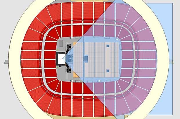 """Mapa do Estádio Nacional indicando local do palco e visão da plateia para o show """"Renato Russo Sinfônico"""", que acontece neste sábado (25), em Brasília (Foto: Andrey Hermuche/Divulgação)"""