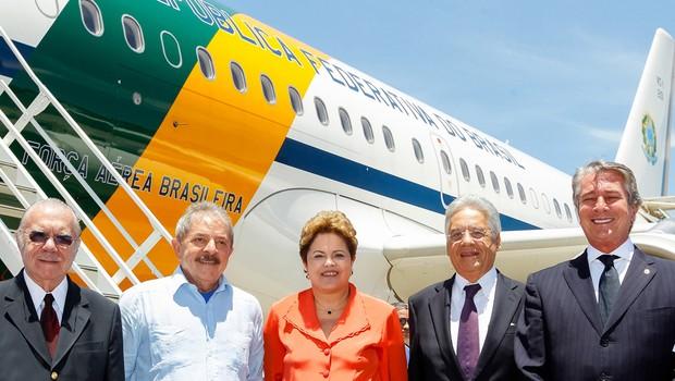 Os presidentes: José Sarney, Lula, Dilma Rousseff, Fernando Henrique Cardoso e Fernando Collor de Mello (Foto: Roberto Stuckert Filho/PR)