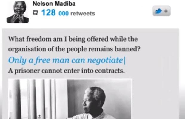 Vídeo cria perfil no Twitter de Nelson Mandela, morto em dezembro de 2013, caso o líder sul-africano tivesse tido acesso à tecnologia de hoje. (Foto: Reprodução/YouTube)