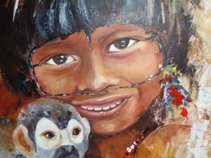 Olhar de criança indígena é marcante na tela de artista (Foto: Graziela Rezende/G1 MS)