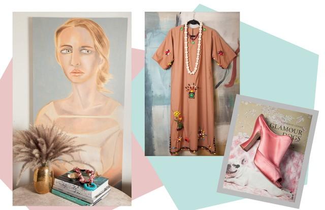 Sandália Miu Miu e vestido (R$ 870) Loop; e, na parede da sala, o retrato pintado por Francesco Clemente e colar Tarantula (Foto: Cassia Tabatini)