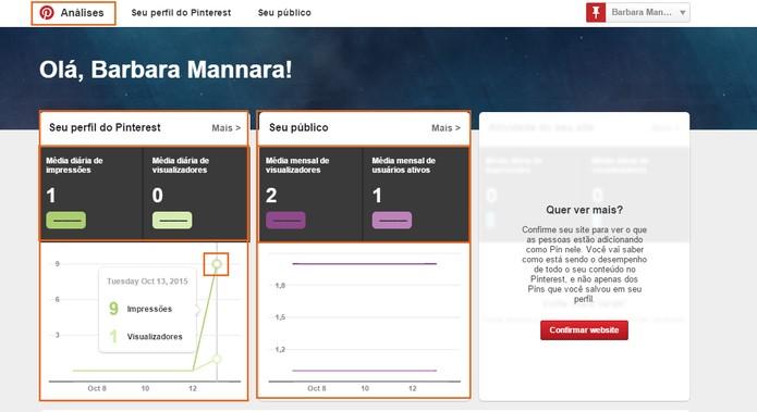 Veja um resumo dos dados na tela inicial das Análises (Foto: Reprodução/Barbara Mannara)