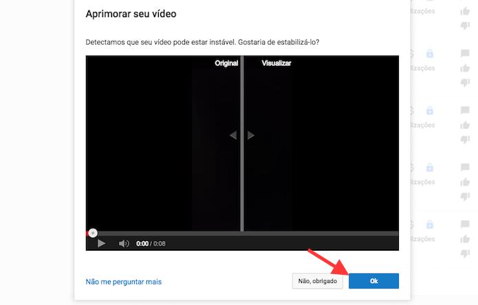 Opção para aplicar um aprimoramento sugerido pelo YouTube em um vídeo (Foto: Reprodução/Marvin Costa)