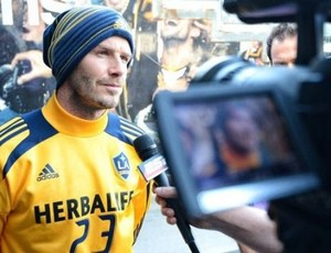 David Beckham em entrevista no Los Angeles Galaxy (Foto: Site oficial do Los Angeles Galaxy)