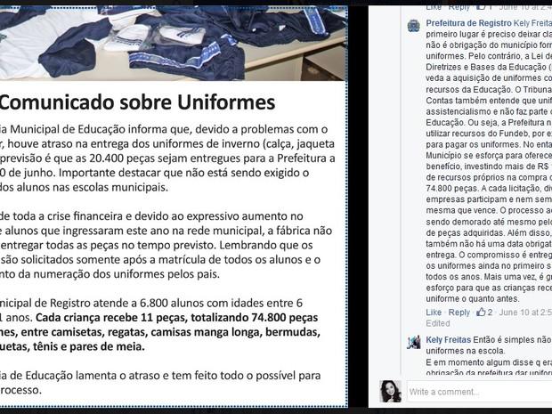 Pais foram avisados por rede social dos atrasos nos uniformes (Foto: Reprodução/Facebook)