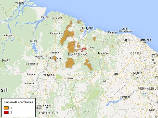Mapa de arrombamentos a bancos no Maranhão, atualizado nesta quarta-feira (8) (Foto: G1)