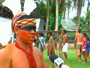 Índios ocupam fazenda em Prado, cidade no extremo sul da Bahia (Foto: Reprodução/ TV Santa Cruz)