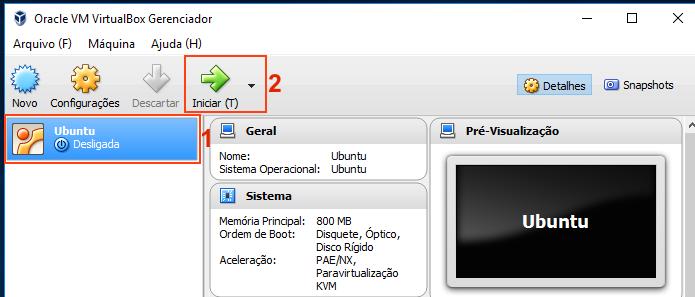 Iniciando a máquina virtual do Ubuntu para instalar o sistema (Foto: Reprodução/Edivaldo Brito)