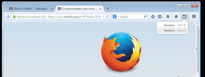 Firefox 30 traz botão para acessar rapidamente os Favoritos, histórico e etc. (Foto: Reprodução/Edivaldo Brito)
