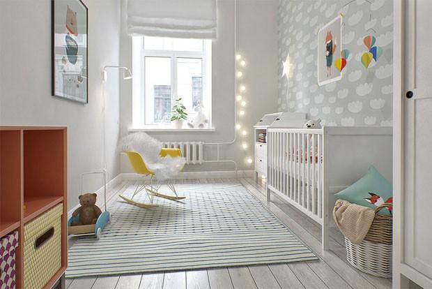 Décor do dia branco no quarto do bebê Casa Vogue  ~ Quarto Riscas Cinza