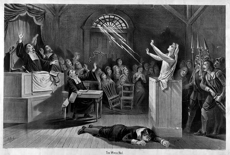 Ilustração mostra suposta bruxa lançando um feitiço em pleno julgamento: repare no cavalheiro à direita, prestes a desembainhar sua espada  (Foto: Wikimedia Commons)