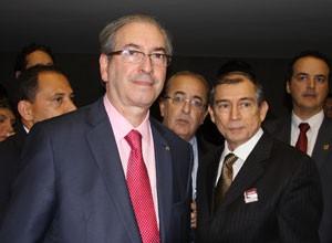 Flávio Germano, à direita, ao lado do presidente da Câmara dos Deputados, Eduardo Cunha. (Foto: TV Clube)