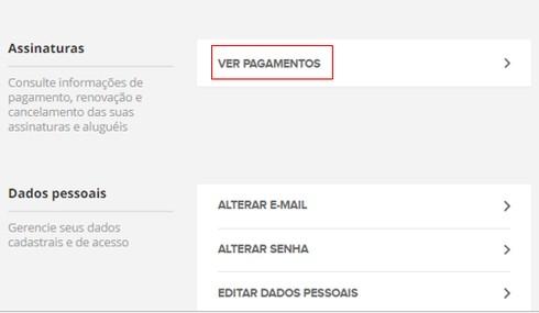 Ver Pagamentos - Canais Globo (Foto: Canais Globo)