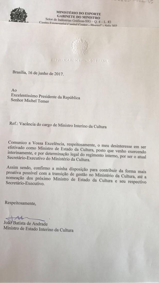 Carta de demissão do ex-ministro interino da Cultura para Temer