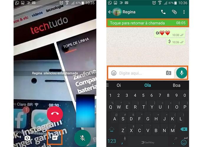 Envie mensagens de texto e emojis no WhatsApp durante a videochamada (Foto: Reprodução/Barbara Mannara)