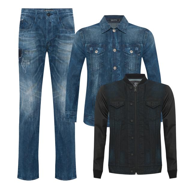 Calça (R$ 189,99), jaqueta jeans (R$ 189,99) e jaqueta com zíper (R$ 299,99) (Foto: Divulgação)