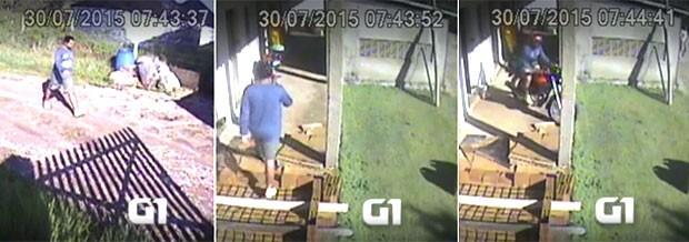 Suspeito caminha calmamente até o sítio. Ele entra na casa, pega um capacete, monta numa motocicleta e vai embora (Foto: Divulgação/Polícia Civil)