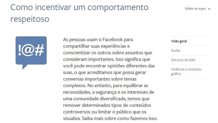 O Facebook preza pelo respeito e irá bloquear qualquer usuário com comportamento indesejado (Foto: Reprodução/Camila Peres)