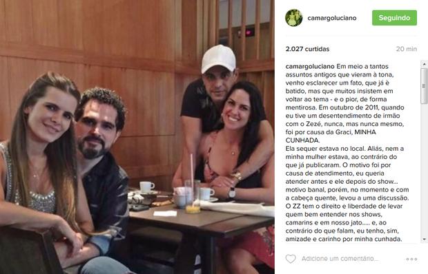 Desabafo de Luciano Camargo defendendo a cunhada, Graciele Lacerda (Foto: Reprodução/Instagram)