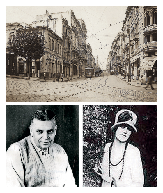 A Rua Líbero Badaró, onde Daisy e Oswald de Andrade (no alto) se encontravam (Foto: Aurélio Becherini/AE, reprodução (2))