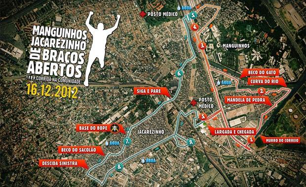 Percurso da corrida Manguinhos e Jacarezinho de Braços Abertos 2012 (Foto: Reprodução)