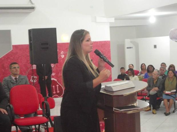 Viviane Brunieri, ex-Ronaldinha, durante gravação de DVD (Foto: Arquivo Pessoal)