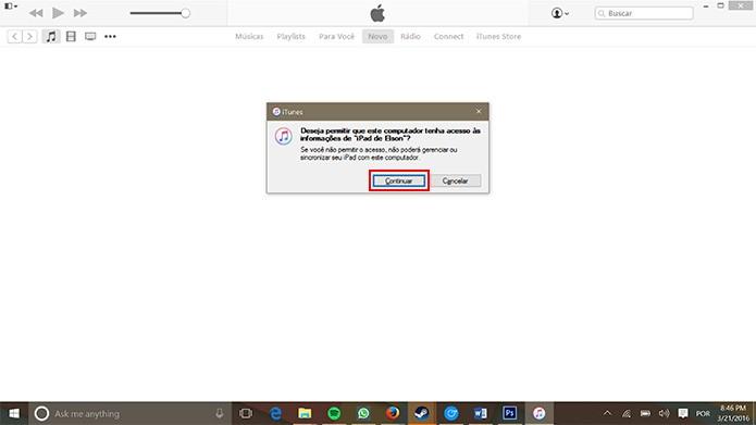 iTunes pedirá permissão para acessar dispositivo do usuário (Foto: Reprodução/Elson de Souza)