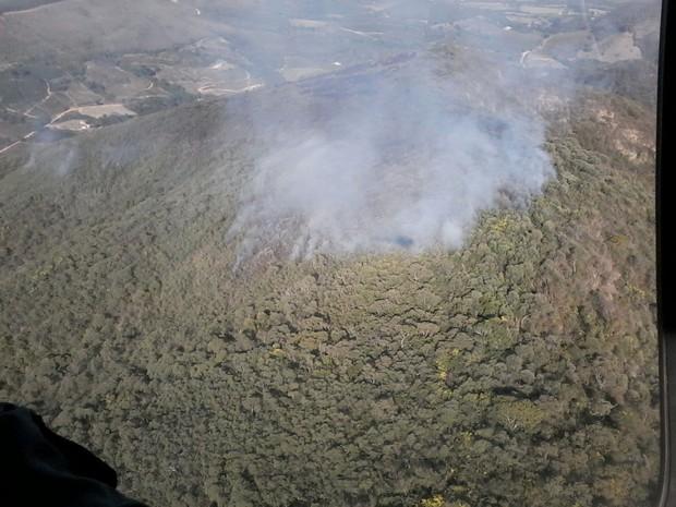 Região queimada está próxima à zona de preservação ambiental (Foto: Corpo de Bombeiros)