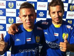 Danielzinho e Naldinho, novos contratados pelo Nacional (Foto: Silvio LIma/GLOBOESPORTE.COM)