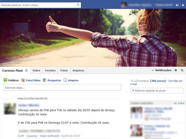 Grupo de caronas em rede social cria alternativa para baratear viagens no Piauí (Foto: Reprodução/Facebook)