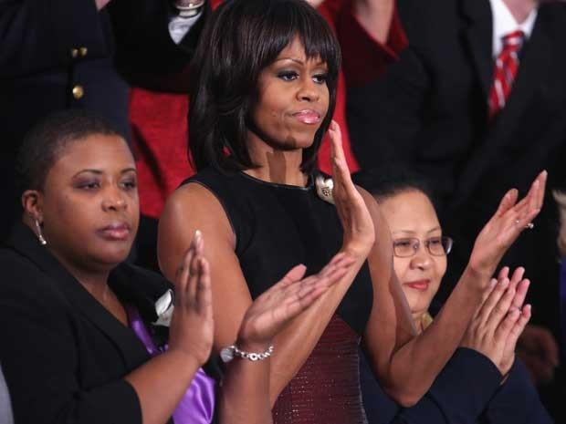 Michele Obama acompanhou e aplaudiu o discurso do marido. (Foto: AFP Photo)