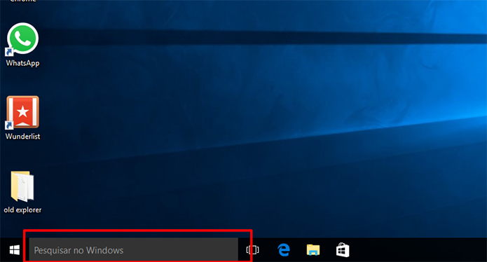 Clique na caixa de pesquisa do Windows 10 para abrir a Cortana (Foto: Reprodução/Elson de Souza)
