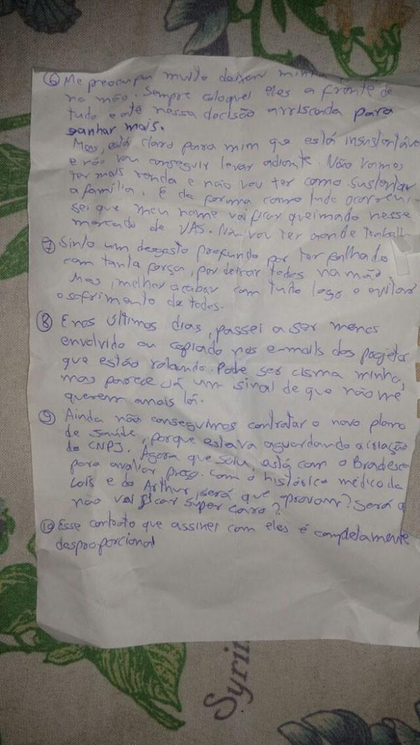 Marido deixou carta em apartamento (Foto: Reprodução)