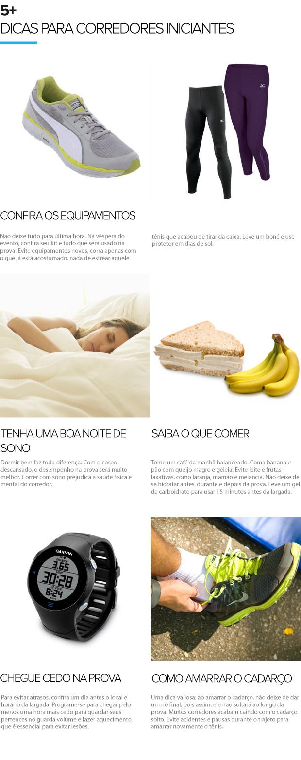 5+ Dicas para iniciantes - Eu Atleta (Foto: Editoria de Arte / Globoesporte.com)