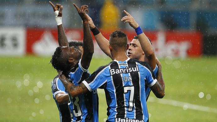 Grêmio x LDU, Bolaños, Luan, Giuliano, Libertadores (Foto: Lucas Uebel/Grêmio/Divulgação)