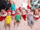 Aos 8 meses e mamando 40 vezes por dia, quíntuplos já celebram o Natal