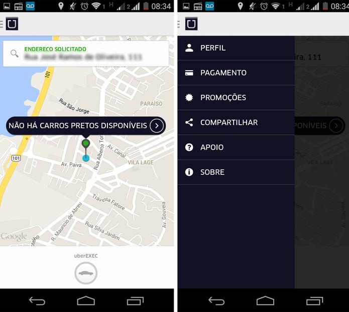 Localização automática do usuário pelo GPS no Uber (Foto: Reprodução/ Marcela Vaz)