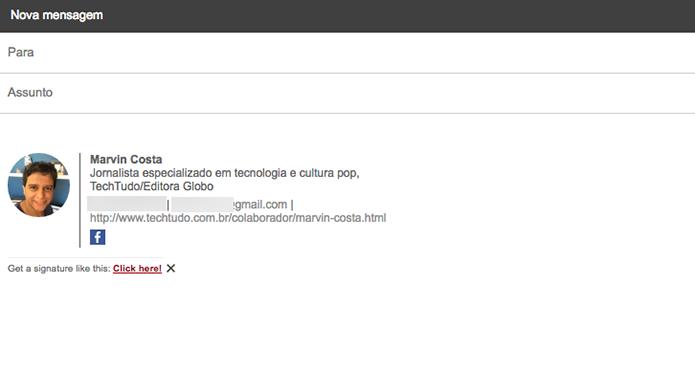 Cartão de apresentação para o Gmail criado com a extensão WiseStamp para Google Chrome (Foto: Reprodução/Marvin Costa)